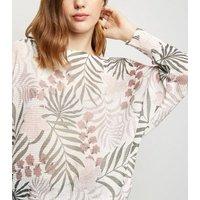 Cameo Rose Pink Leaf Fine Knit Jumper New Look