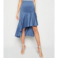 Blue Satin Spot Jacquard Ruffle Midi Skirt New Look