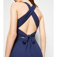 Navy Cross Back Wrap Maxi Dress New Look