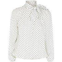 Petite White Spot Tie Neck Shirt New Look