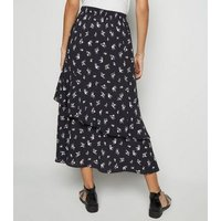 Black Ditsy Floral Tiered Maxi Skirt New Look