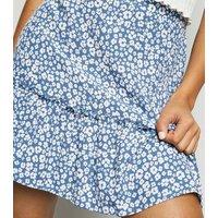 Blue Leopard Print Tiered Mini Skirt New Look