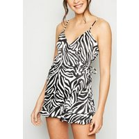 Pink Vanilla Black Zebra Wrap Playsuit New Look