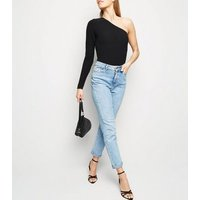 Tall Black Ribbed One Shoulder Bodysuit. New Look