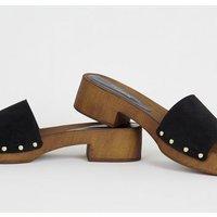 Black Premium Suede Wood Mules New Look