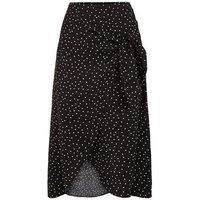 Black Spot Wrap Midi Skirt New Look