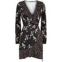 Parisian Black Floral Wrap Front Mini Dress New Look