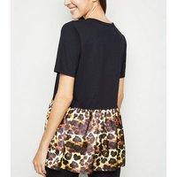 Cameo Rose Black Leopard Print Hem T-Shirt New Look