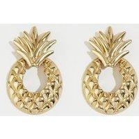 Gold Pineapple Door Knocker Earrings New Look