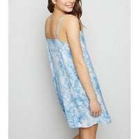 Blue Tie Dye Button Up Denim Slip Dress New Look