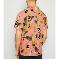 Pink Beer Bottle Print Short Sleeve Shirt New Look