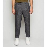 Dark Grey Pleat Front Crop Trousers New Look