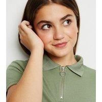 Girls Khaki Zip Neck Polo Shirt New Look