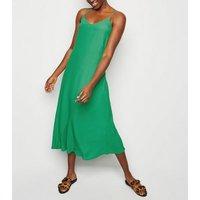 Green Bias Cut Slip Midi Dress New Look