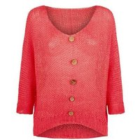 Carpe Diem Coral Knit Button Front Top New Look