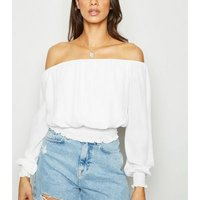 Off White Chiffon Bardot Top New Look
