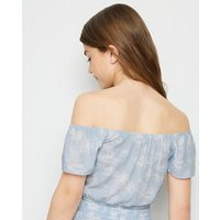Girls Blue Tropical Lace Up Bardot Top New Look