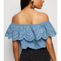 Petite Pale Blue Broderie Crop Bardot Top New Look