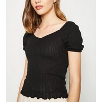 Black Pointelle Sweetheart Neck T-Shirt New Look