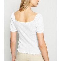 White Pointelle Sweetheart Neck T-Shirt New Look