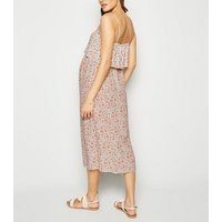 Maternity White Ditsy Floral Midi Dress New Look