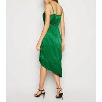 Green Satin Spot Jacquard Midi Dress New Look