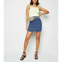 Blue Paperbag Zip Up Denim Skirt New Look