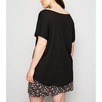 Curves Black Cap Sleeve T-Shirt New Look