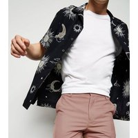 Black Sun and Moon Print Revere Collar Shirt New Look