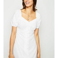 White Linen Blend Button Up Milkmaid Dress New Look
