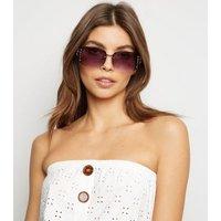Brown Diamanté Rimless Sunglasses New Look