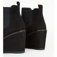 Black Suedette Wedge Chelsea Boots New Look