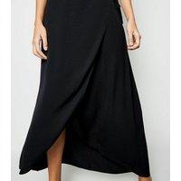 Black Wrap Maxi Skirt New Look