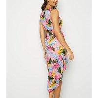 Mela Pink Tropical Print Dip Hem Dress New Look
