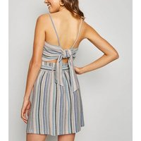 Blue Stripe Linen Look Mini Skirt New Look