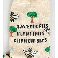 Stone Save The Planet Slogan Socks New Look