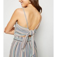 Blue Stripe Linen Look Square Neck Cami New Look
