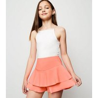Girls Coral Crepe Ruffle Skort New Look