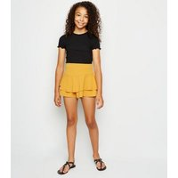 Girls Mustard Crepe Skort New Look