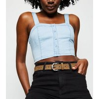 Camel Suedette Twist Stud Jeans Belt New Look