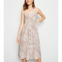 Pink Palm Linen Blend Midi Dress New Look