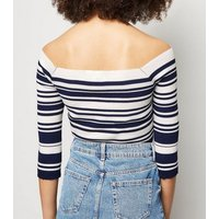 Blue Vanilla Blue Stripe Cross Over Bardot Jumper New Look