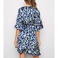 Blue Vanilla Green Leopard Print Mini Wrap Dress New Look