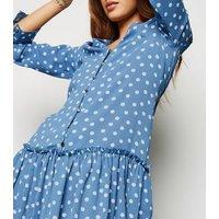 Blue Spot Button Up Smock Dress New Look