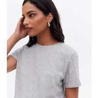 Maternity Grey Roll Sleeve T-Shirt New Look