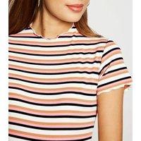 Maternity White Multi Stripe Ribbed Bodycon Dress New Look