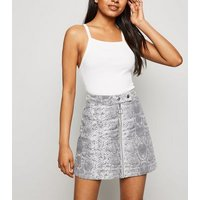 Petite Light Green Snake Print Denim Skirt New Look