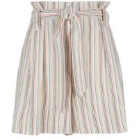 White Stripe Linen Look Paperbag Shorts New Look