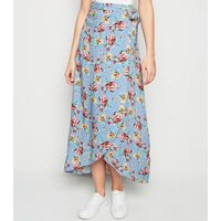 Blue Floral Wrap Maxi Skirt New Look