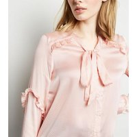 Brave Soul Pink Spot Ruffle Satin Blouse New Look